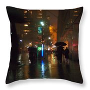 Silhouettes In The Rain - Umbrellas On 42nd Throw Pillow
