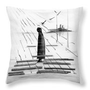 Silhouettes Of Human And Birds. Throw Pillow
