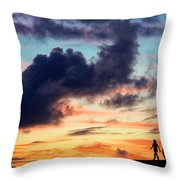 Silhouettes Of Three Girls Walking In The Sunset Throw Pillow