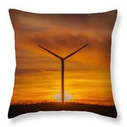 Silhouettes Of Wind Turbines With A Beautiful Sunset Throw Pillow