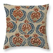 Silk Embroidered Linen Panel Throw Pillow
