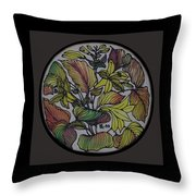 Silk Leaves Throw Pillow