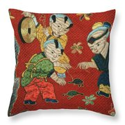 Silk Robe - Children Playing With Turtle Throw Pillow