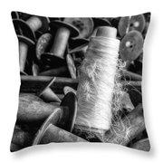 Silk Thread Spools Bw Throw Pillow