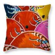Silk Umbrella Factory Throw Pillow