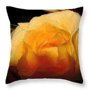 Silken Yellow Rose Throw Pillow