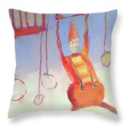 Silly Clown Throw Pillow by Michelle Abrams