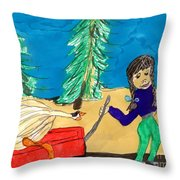 Silly Little Goose Wagon Ride Throw Pillow