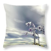 Silver And Gold Orchids Throw Pillow