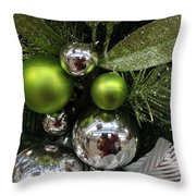Silver And Green For Christmas Throw Pillow