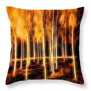 Silver Birches Flaming Abstract  Throw Pillow