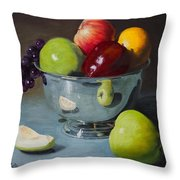 Silver Bowl Of Fruit Throw Pillow