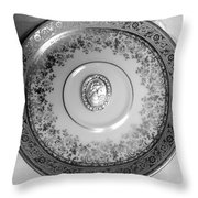 Silver Cameo Plate Throw Pillow