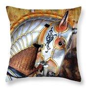 Silver Carousel Horse II Throw Pillow
