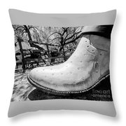 Silver Cowboy Boot Throw Pillow