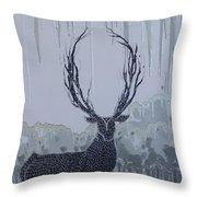 Silver Deer Throw Pillow