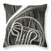 Silver French Horn Throw Pillow