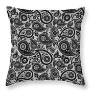 Silver Gray Paisley Design Throw Pillow