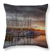 Silver Harbor Skies Throw Pillow