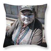 Silver Lady Throw Pillow