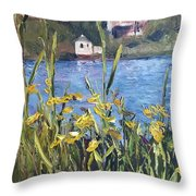 Silver Lake Blossoms Throw Pillow