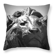 Silver Lion Throw Pillow