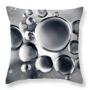 Silver Macro Droplets Throw Pillow
