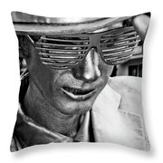 Silver Man Mime Throw Pillow