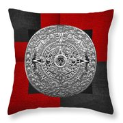 Silver Mayan-aztec Calendar On Black And Red Leather Throw Pillow