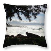 Hawaiian Silver Ocean Throw Pillow