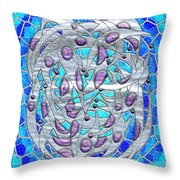 Silver On Blue Stained Glass Throw Pillow