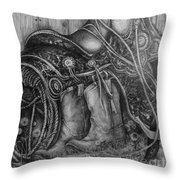 Silver Sands- Saddle And Boots Throw Pillow