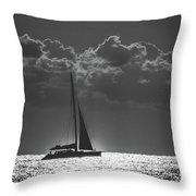 Silver Sea Sailboat Delray Beach Florida Throw Pillow