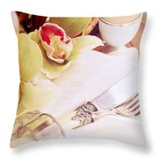 Silver Service Breakfast Setting Throw Pillow