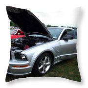 Silver Stang Throw Pillow