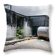 Silver Tanks In Factory Throw Pillow