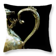 Silver Tea Pot Handle - Digital Oil Art Work Throw Pillow