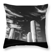 Silver Towers Throw Pillow