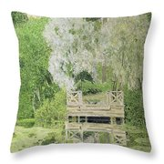 Silver White Willow Throw Pillow by Aleksandr Jakovlevic Golovin