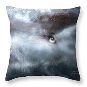 Silver Wolf Throw Pillow