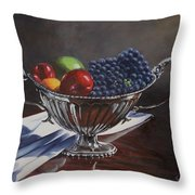 Silvered Fruit Throw Pillow