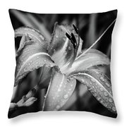 Silvered Lily Throw Pillow