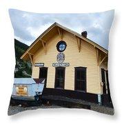 Silverton Train Depot Throw Pillow