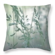 Silvery Green Grasses Throw Pillow