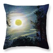 Silvery Moon Glow Throw Pillow