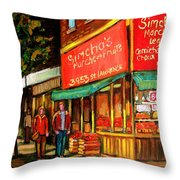 Simchas  Fruit Store Throw Pillow