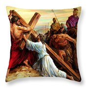 Simon Helping Jesus Throw Pillow