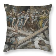 Simon The Cyrenian Compelled To Carry The Cross With Jesus Throw Pillow