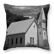 Simple Country Church - Bw Throw Pillow