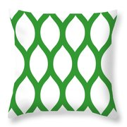 Simplified Latticework With Border In Dublin Green Throw Pillow